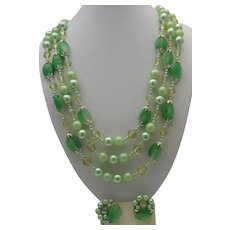 Mint Green Glass Necklace earrings Set