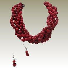 Cherry Torsion Necklace Earrings set