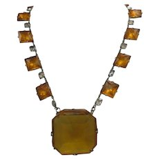 Czech Art Deco Amber Glass Necklace