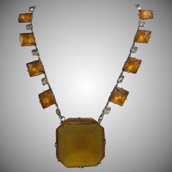 Czech Art Deco Amber Glass Necklace