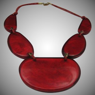 Lucite Candy Apple Red Necklace
