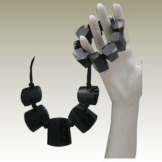 Black/Clear Lucite Necklace Bracelet
