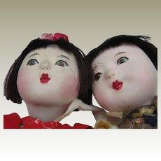 Pair Gofun Ichimatsu Dolls