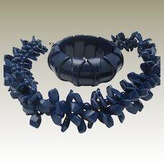 Navy Celluloid Necklace Bracelet