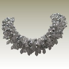 Encrusted  Silver toned Crystal Necklace