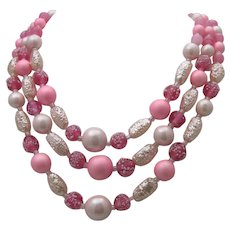 Frosted Glass Three Stand Necklace c1960