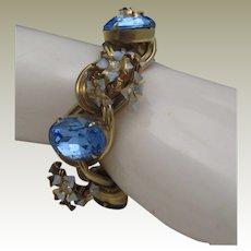 Floral Blue Linked Bracelet c1960