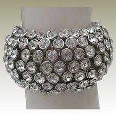 Domed Clear Rhinestone Stretch Bracelet