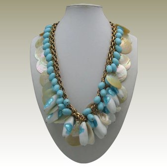 French Milk & Foiled Glass Necklace