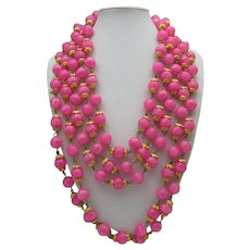 Parisian Pink Five Strand Necklace 1960