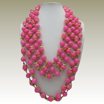 Parisian Pink Five Strand Necklace 1960
