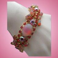 Pink Rhinestone Cocktail Bracelet c1960