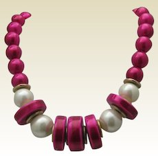 Cherry Celluloid Mid Century Necklace