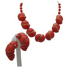 Mid-Century Orange Necklace set