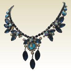 Blue Rhinestone Cocktail Necklace