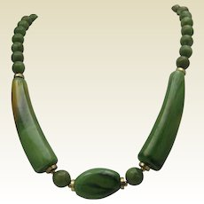 Mid-Century Spinach Celluloid Necklace