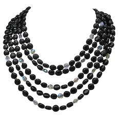 Black Glass & Crystal Necklace W.Germany