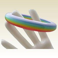 Rainbow Celluloid Bangle Bracelet c1970