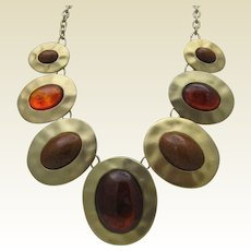 Amber Cabochons Brass Necklace c1970