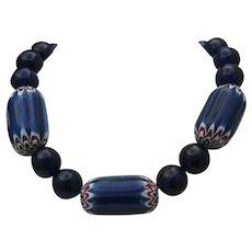 Chevron Cobalt Trade Bead Necklace