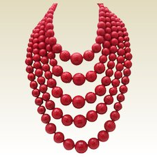 Fire Engine Red 5 Strand Necklace