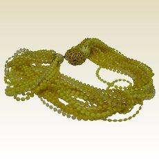 Yellow Multi Strand Necklace c1960