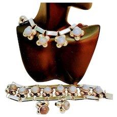 Sterling Mexico Necklace Bracelet Earrings Set
