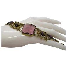 Czech Amethyst Glass Bracelet