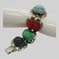 Egyptian Revival Scarab Bracelet Faience