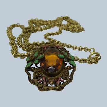 Neiger Brothers Amber Glass Deco Necklace