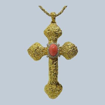 KJL Golden Cross Pendant Faux Coral