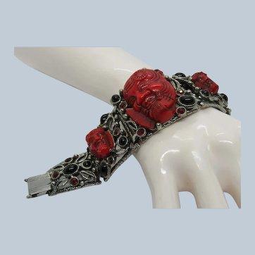 Selro Red Noh Mask Bracelet