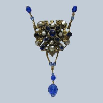Antique Austro  Hungarian Cobalt crystal Necklace