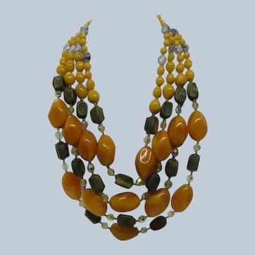 Butterscotch Bakelite Crystal Necklace