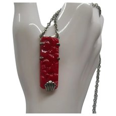 Art Deco Red Pressed Glass Necklace
