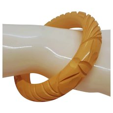 Carved Butterscotch Bakelite Bracelet
