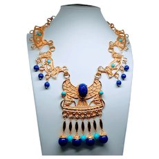 Huge Egyptian Revival Scarab Necklace
