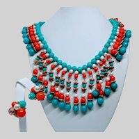 Egyptian Revival Style Necklace Earrings
