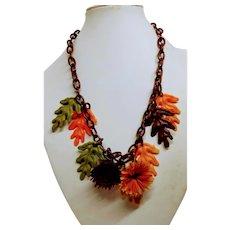 Celluloid Autumn Leaf Necklace