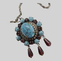 Fabulous Old Faux Turquoise Pendant Necklace