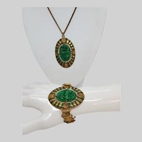 Stunning Egyptian Revival Style Poured Green Glass Pendant Necklace and Bracelet Set