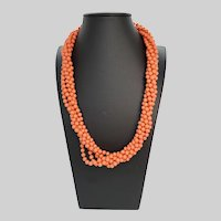 Summer Fun Torsade Faux Coral Glass Bead Necklace