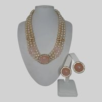 Pastel Pink Rose Quartz and Faux Pearl with Rhinestone Triple Strand Necklace and Earrings