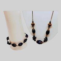 Stunning Lapis  Czech Necklace and Bracelet