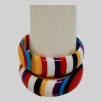 Set of Two Vintage Multi Color Plastic Bangles,