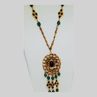 Faux Turquoise  and Royal Blue Freestyle Pendant Necklace