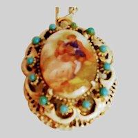 Romantic scene porcelain Pendent Necklace