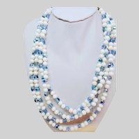 Milk glass blue crystal 4 strand Necklace