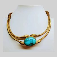 Brass Turquoise Serpent Necklace Egyptian Revival