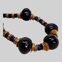 C 1940 Cobalt Glass Tribal style necklace